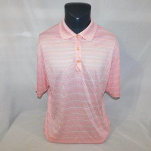 Nike Golf Mens L Pink White Dri-Fit Polo Shirt